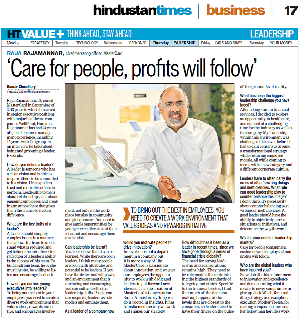 Hindustan Times_11 September 2014_Care for people, profits will follow