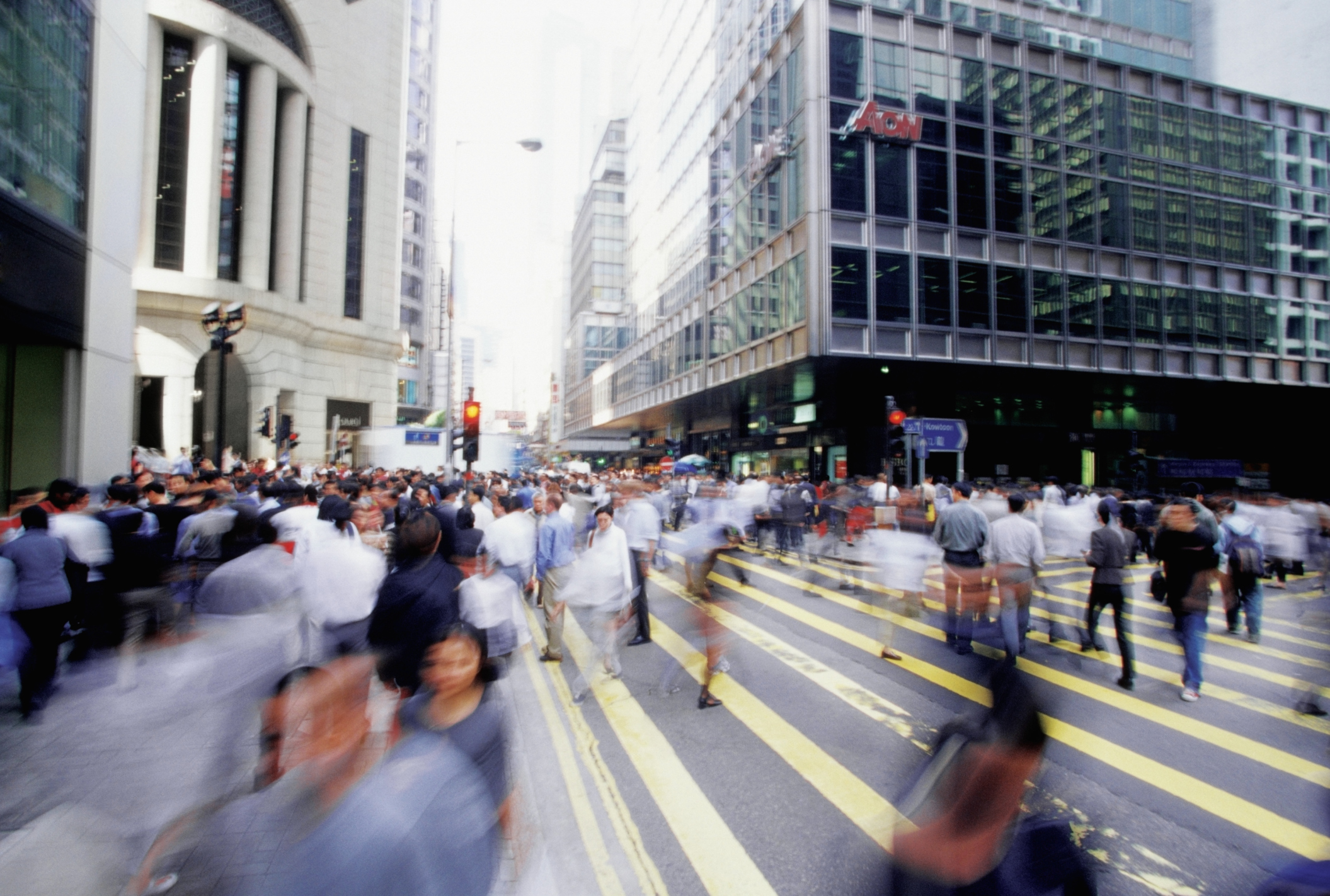 Blurred image of Hong Kong Central Business District, China, blurred motion, selective focus