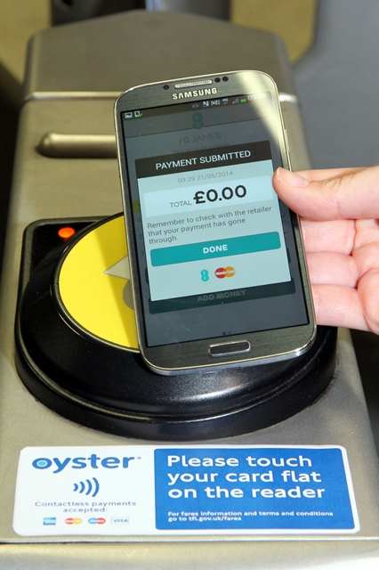 There is no special need for the contactless card reader: any reader that  can work with VISA payWave / Master PayPass can work with Apple Pay.