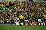 30 Oct 1999:  Stephen Larkham of Australia kicks a 40m drop-goal during the Semi-Final of the Rugby World Cup against South Africa played at Twickenham in London, England. Australia won the game 27-20.  Mandatory Credit: Gary Prior /Allsport