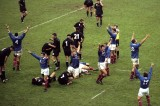 31 Oct 1999:  The French team celebrate after beating New Zealand to win the Semi Final match of the Rugby World Cup played at Twickenham in London, England. France won the game 43-31.  Mandatory Credit: Ross Kinnaird /Allsport