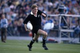 John Kirwan of New Zealand in action against Fiji during the Rugby Union World Cup match held in Christchurch on 27th May 1987.  New Zealand won 74-13.  (Photo by Bob Thomas/Getty Images).