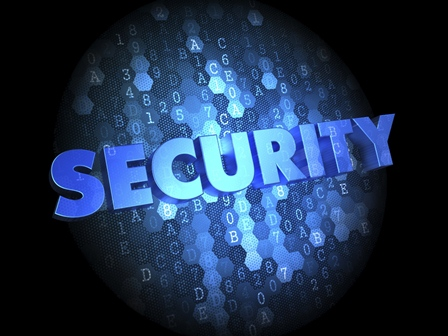 Security on Dark Digital Background.