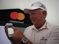 Golf fans can order food and drink directly from their phones.  Golf's original championship, The Open, will be accepting mobile payments for the first time this summer. As patrons of the championship and for the first time at any Open, Mastercard will enable spectators to order and pay for their food and drinks through the Qkr! with Masterpass app whilst on the course. Picture shows: Mark O'Meara demonstrating the Mastercard Qkr! app at The (Royal Birkdale) Open 2017  Images are free of charge for the press to use. Mandatory Credit: Sean Wilton/VisMedia  This photograph taken by VisualMedia is supplied with an indefinite license for editorial purposes, but excluding advertorials or competitions. The license also covers internal communications requirements such as newsletters and non-commercial website use. Usage for external marketing / advertising purposes will attract additional fees that need to be negotiated dependent on requirements.
