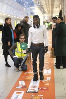 "Non Exclusive - Mastercard launches the Masterpass 'Click and Collect' fast lane at intu Lakeside ,the shopping lane with a minimum speed limit has been installed in response to a new study ahead of Black Friday and the festive period which has found 84% of Brits admit to exhibiting ""slowed rage"" at other shoppers and slow walkers"