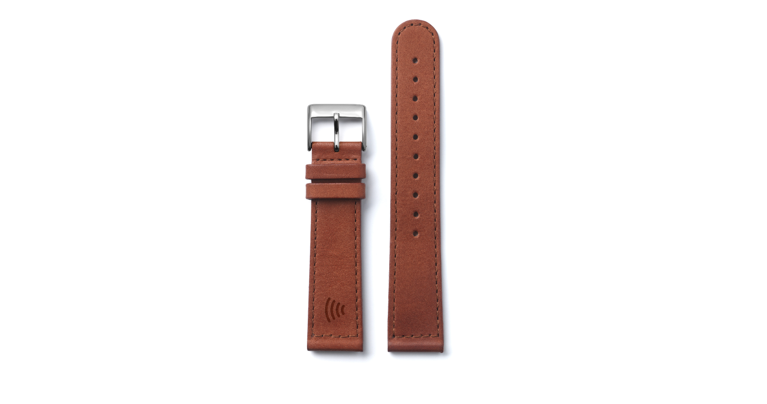 Tapster strap Brown Sewn Classic Silver Buckle