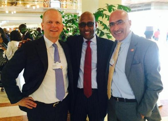 MasterCard's Michael Miebach and Sami Lahoud with HE Adan Mohamed, Kenyan Minister of Industrialization