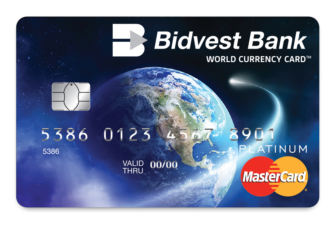 The Bidvest Bank MasterCard Multi-Currency World Currency Card allows cardholders to upload up to 17 currencies on one card at the same time.