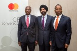 Left to Right: Professor Mthuli Ncube, Zimbabwe's Minister of Finance and Economic Development, Ajay Banga, President and CEO, Mastercard and Dr John Mangudya, Governor of the Reserve Bank of Zimbabwe