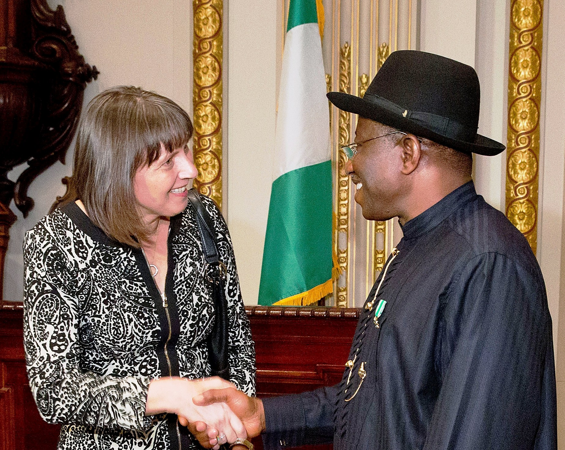 Martina Hund-Majean and Goodluck Jonathan
