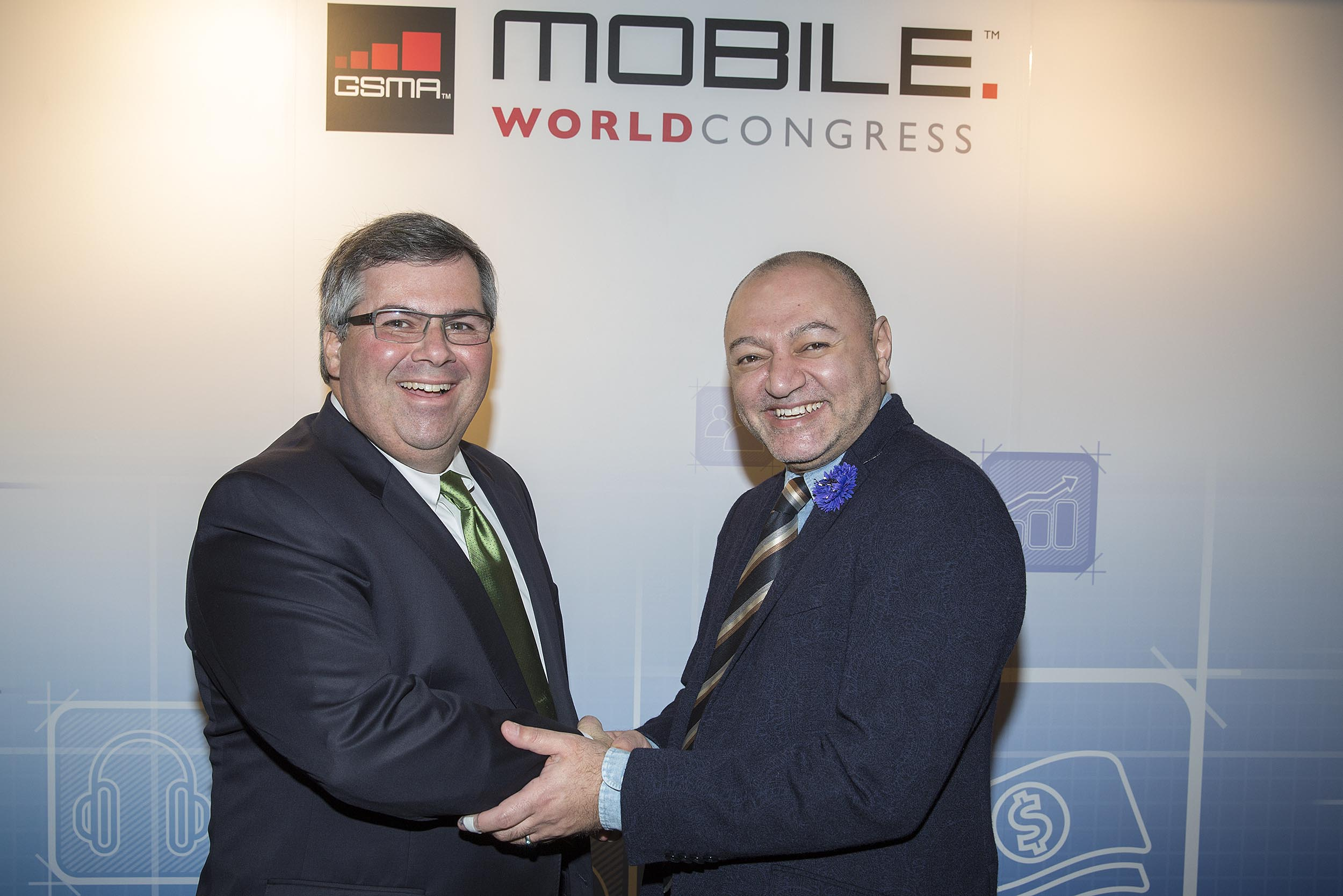 Hany Fam, President Global Strategic Alliances, MasterCard, and Joe DiFonzo, CTO, Syniverse, announced a global collaboration of their two companies at Mobile World Congress in Barcelona on Tuesday, February 25, 2014.