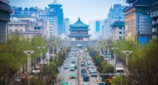 the street scene of xian,bell tower in the center of ancient city,China; Shutterstock ID 142552603; PO: license(12832)