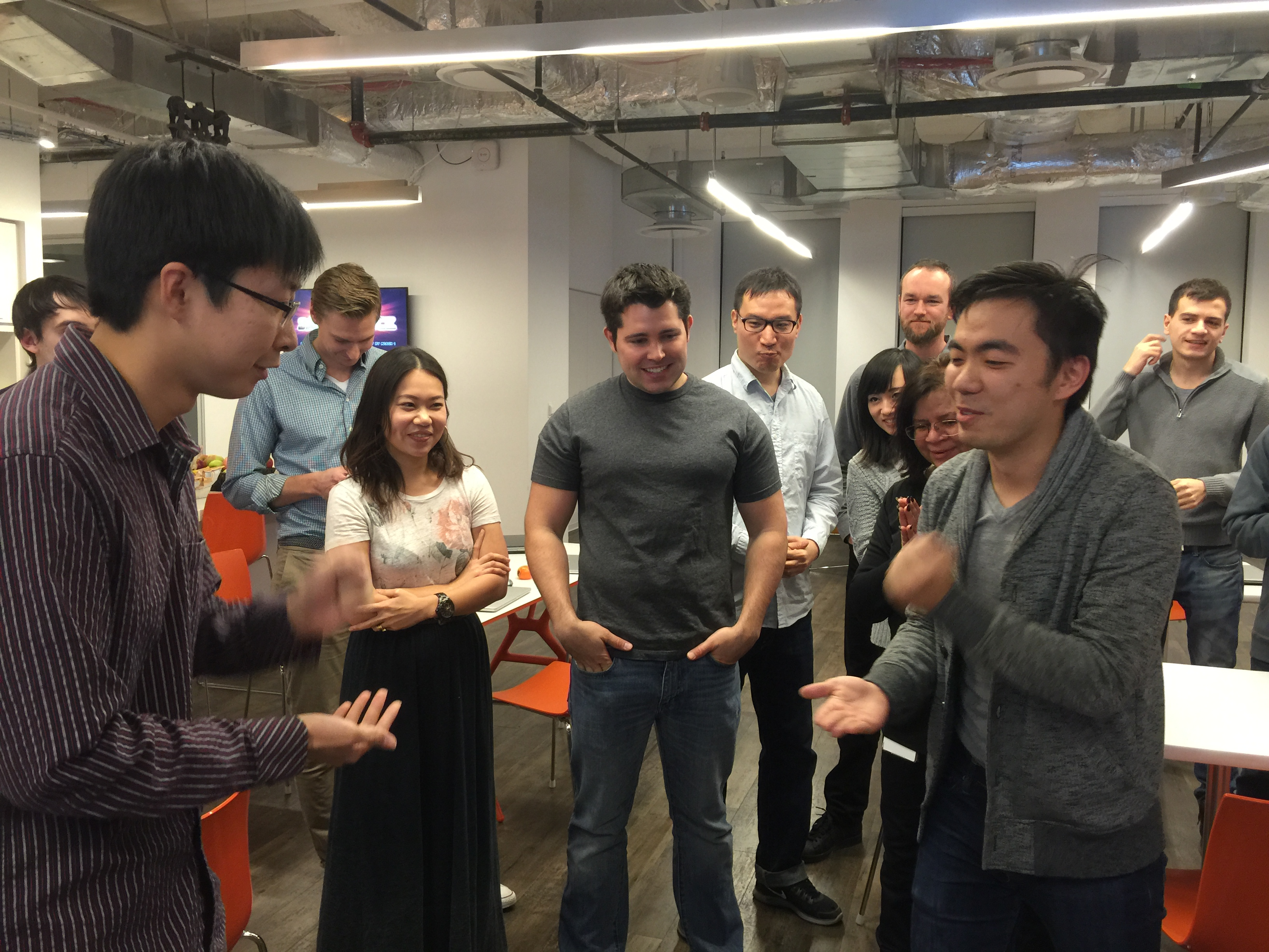 The hackathon kicked off with an intense game of rock-paper-scissors to get our competitive juices flowing.