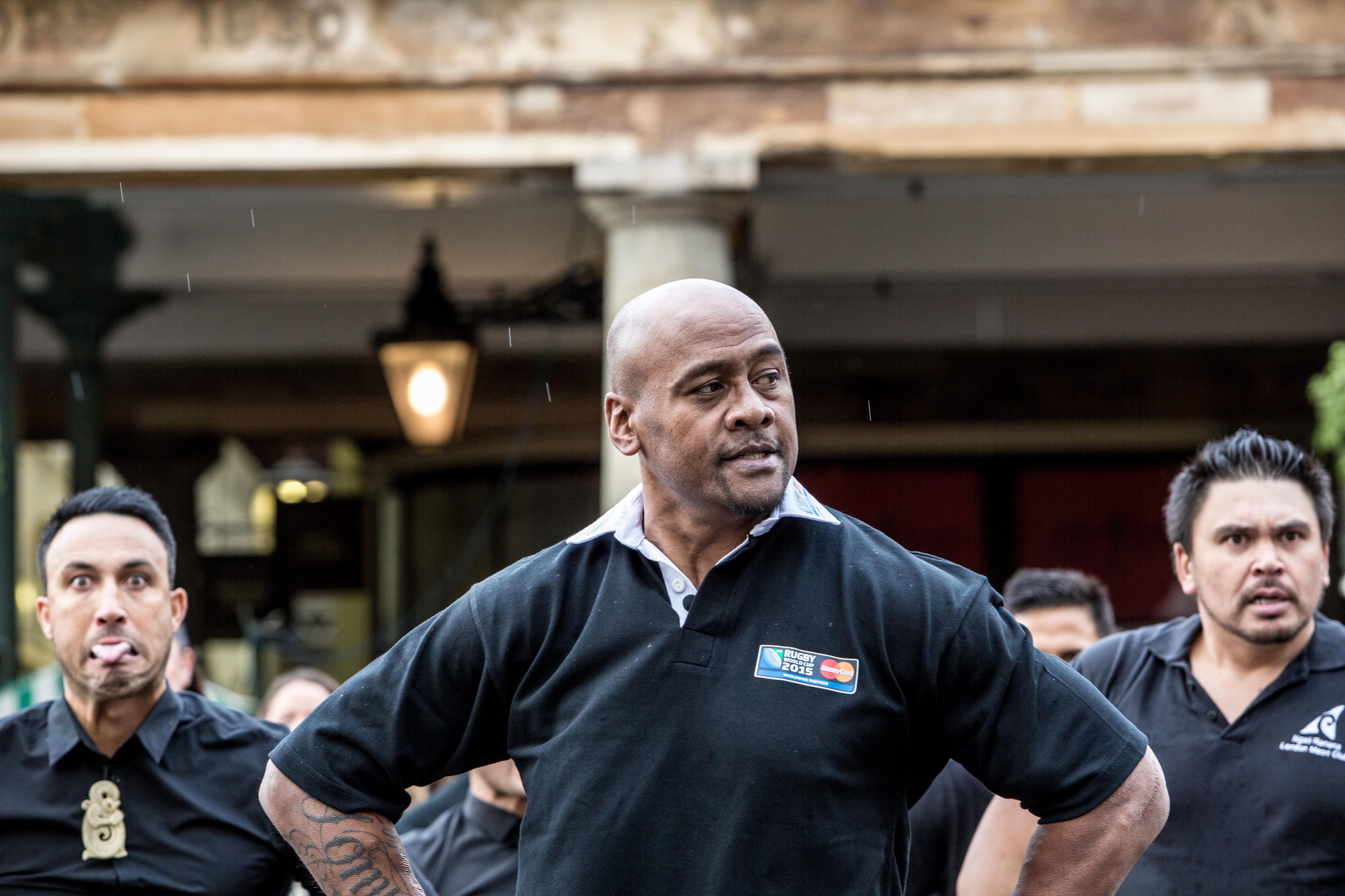 MasterCard Rugby World Cup 2015 ambassador Jonah Lomu, accompanied by Londoners and the Ngāti Rānana London Māori Club performed a Priceless haka in Covent Garden, London.