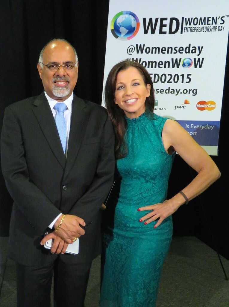 MasterCard CMO, Raja Rajamannar and Wendy Diamond, Founder of Women's Entrepreneurship Day after Rajamannar's speech.