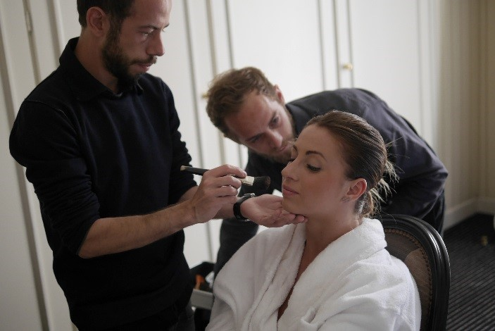 Hair and makeup artist helps winner of the MasterCard Star Weekend  in Cannes get red carpet ready.