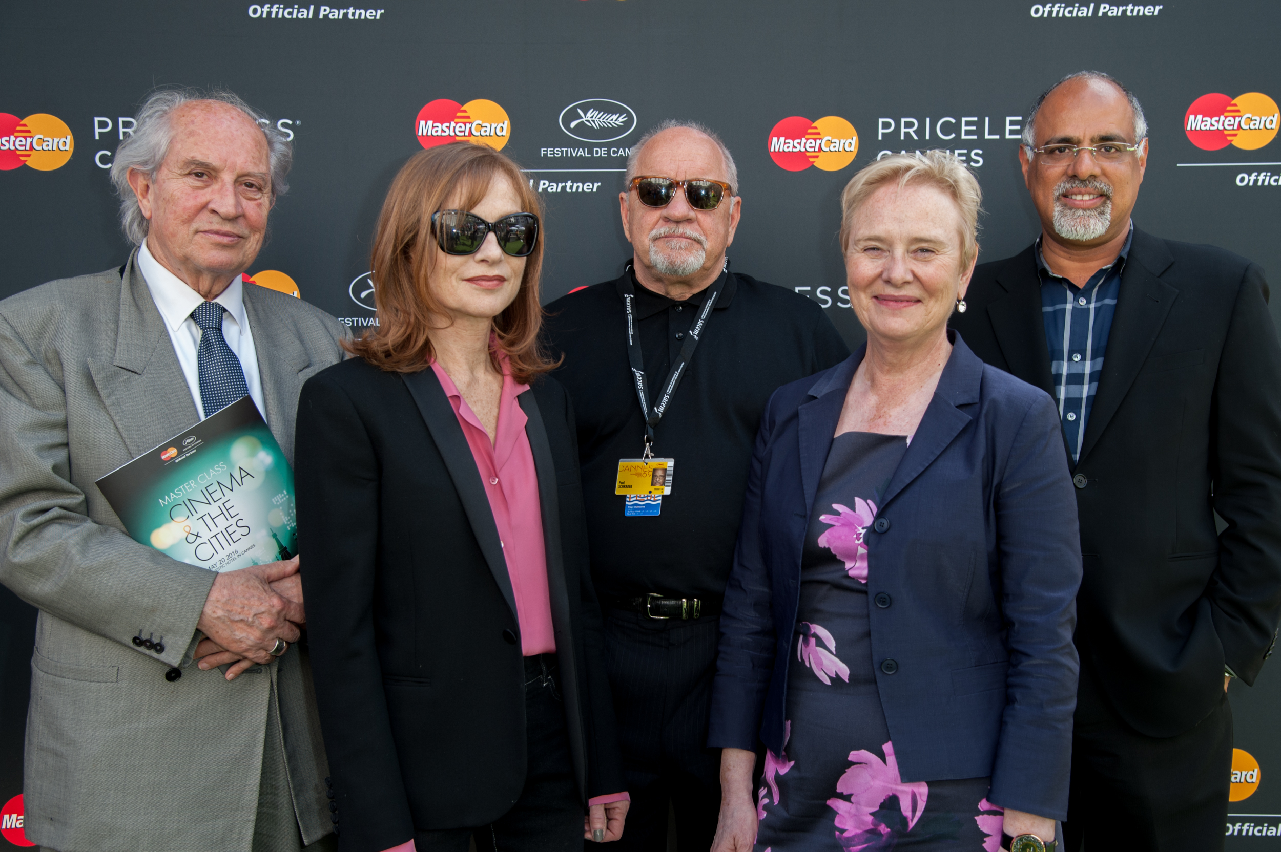 Vittorio Storaro, Isabelle Huppert, Paul Schrader, Ann Cairns, and Raja Rajamannar make up the first MasterClass on Cinema and the Cities, hosted by MasterCard at the Cannes Film Festival
