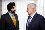 Mastercard CEO Ajay Banga and George Soros met at the World Economic Forum announcing plans to explore creating a social enterprise to apply commercial strategies to deliver a positive impact on society.