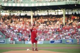 August 20, 2019, Boston, MA: Finbar Coleman throws a ceremonial first pitch during pregame ceremonies before the Boston Red Sox's game against the Philadelphia Phillies at Fenway Park in Boston, Massachusetts on Tuesday, August 20 2019.  (Photo by Cameron Pollack/Boston Red Sox)