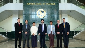 Ajay Banga, President and CEO of MasterCard Worldwide in front of the Ministry of Finance and Revenue, Central Bank of Myanmar