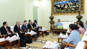 Ajay Banga, President and CEO of MasterCard Worldwide, chats with Governor U Than Nyein, of the Central Bank of Myanmar