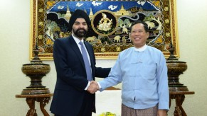 Ajay Banga, President & CEO of MasterCard Worldwide, with Governor U Than Nyein, of the Central Bank of Myanmar